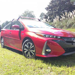 2017 Toyota Prius Prime (Hypersonic Red) front angle