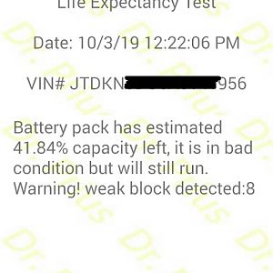 Dr. Prius App test result