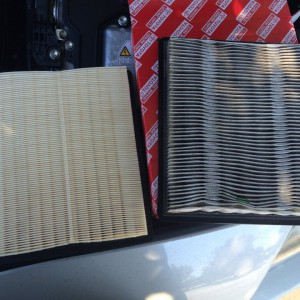 new vs. old air filter...new one is Toyota